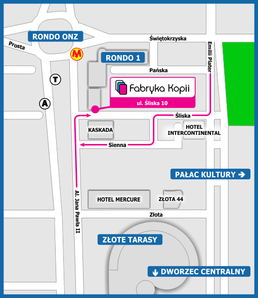 Mapka dojazdu do Fabryki Kopii